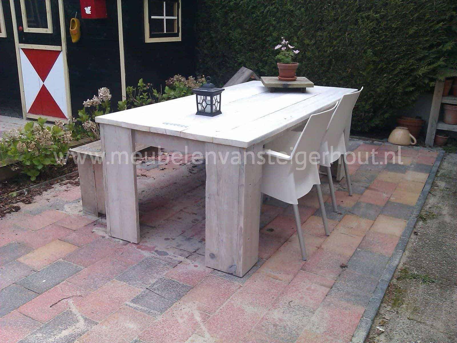 Doe het zelf tafel 100 cm breed meubelen van steigerhout for Zelf tafel maken