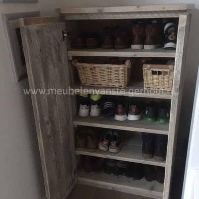 Steigerhouten schoenenkast met 5 vakken en deuren 1