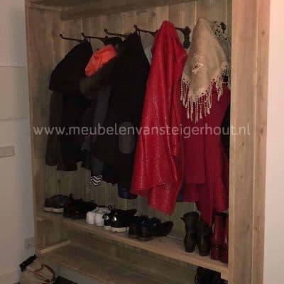 Steigerhouten kapstok garderobekast zwevend1