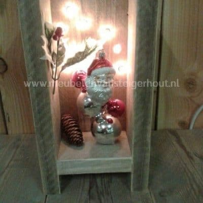 Steigerhout kerst decoratie met lichtjes