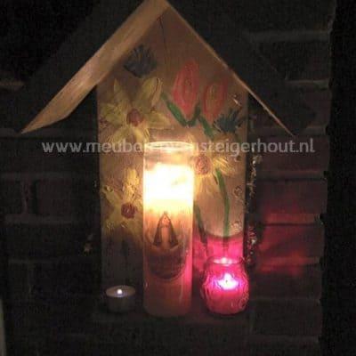 Kerstdecoratie steigerhout kersst afdak met windlicht