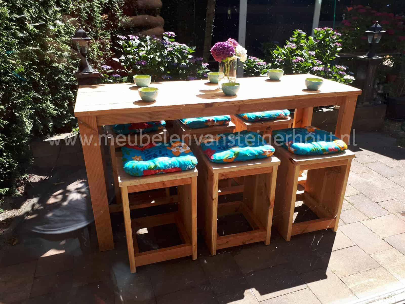 Bartafel Met 6 Barstoelen.Bartafel Douglas Steigerhout