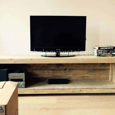 Steigerhout TV meubel op wielen