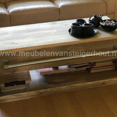 Steigerhout salontafel met onderplank en lade